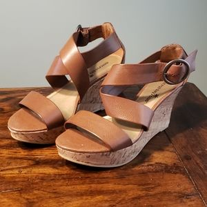 Strappy Cognac/Tan Faux Leather Wedge Sandal